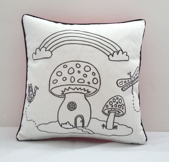 Colouring In Toadstool Design Cushion Cover