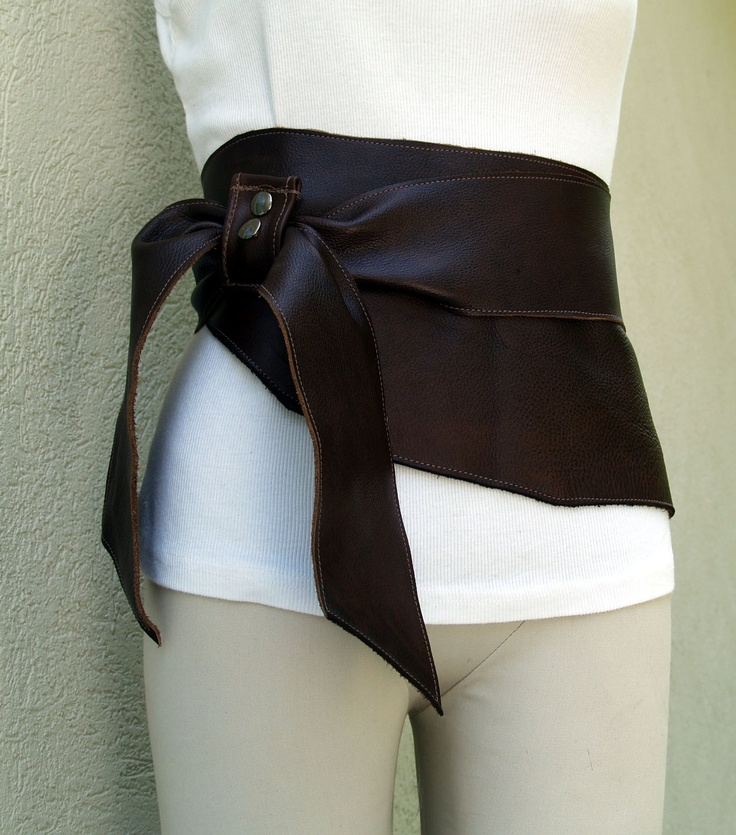 Brown Leather Belt with Natural Raw Edges. via Etsy.