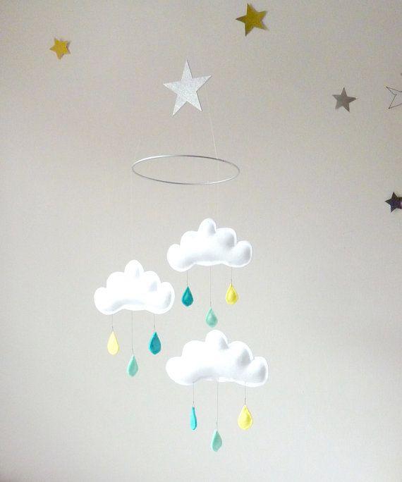 Rain Cloud Mobile for Nursery ARTHUR Spring by leptitpapillon, $65.00
