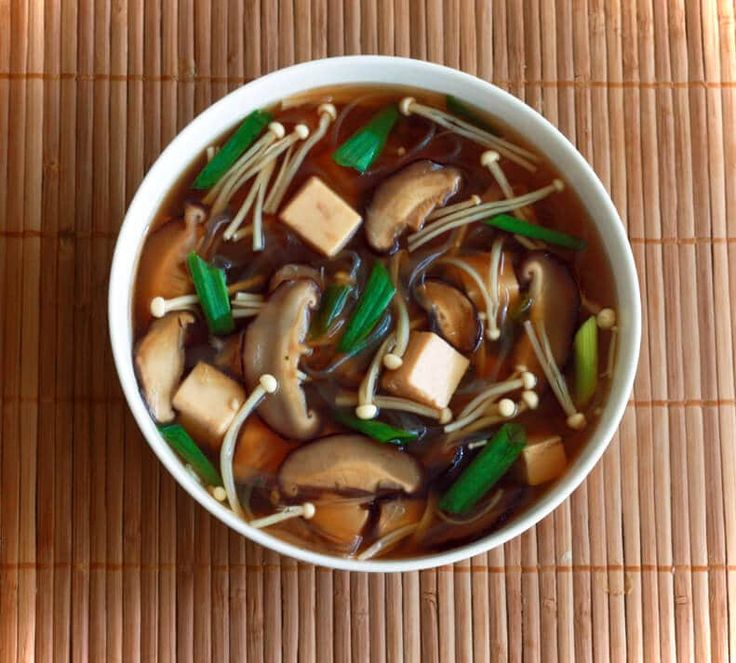 Mushroom, Tofu and Vermicelli Noodle Soup
