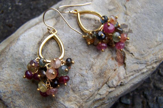 Sapphire Earrings  Multicolored Sapphire by jitterbugandthebead