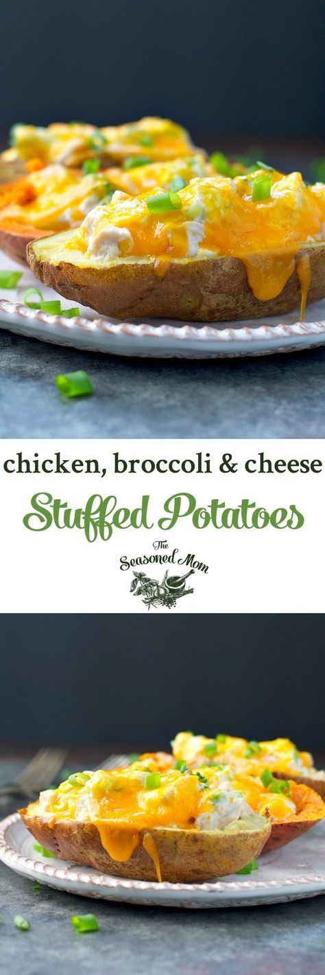Chicken, Broccoli and Cheese Stuffed Potatoes! Easy Dinner Recipes | Dinner Ideas | Chicken Breast Recipes | Easy Chicken Recipes | Leftover Rotisserie Chicken Recipes | Leftover Chicken Recipes | Gluten Free Recipes