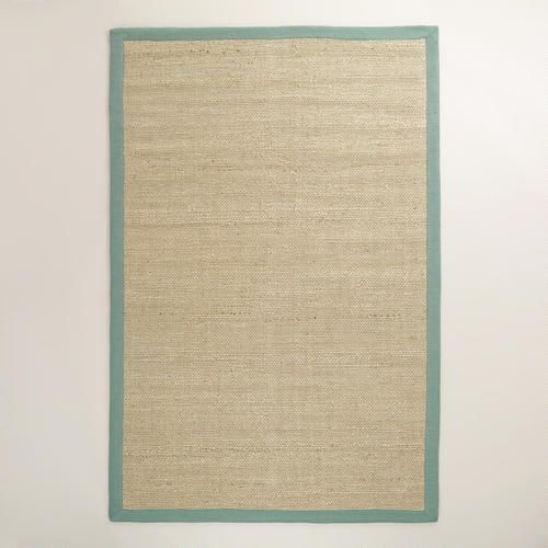 One of my favorite discoveries at WorldMarket.com: Blue Bordered Chunky Weave Jute Rug