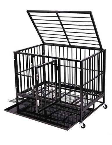 "Heavy Duty Dog Crate, Haige Pet Metal Strong Dog Kennel Cage with Wheels and Tray  After re-strengthening the packaging, Haige Pet heavy duty dog crates Return of the King 1. Color: Black Shiny 2. Overall Dimensions: 36.2""L X 24.4""W X 29.7"" H 3. Capicity Weight: 56.43lbs 4. Door Dimensions: 19.5"" H X 13.8"" W 5. Tray Dimensions: 34.25"" L X 22.6"" W 6. Space between https://homeandgarden.boutiquecloset.com/product/heavy-duty-dog-crate-haige-pet-metal-strong-dog-kennel-cage-with-"