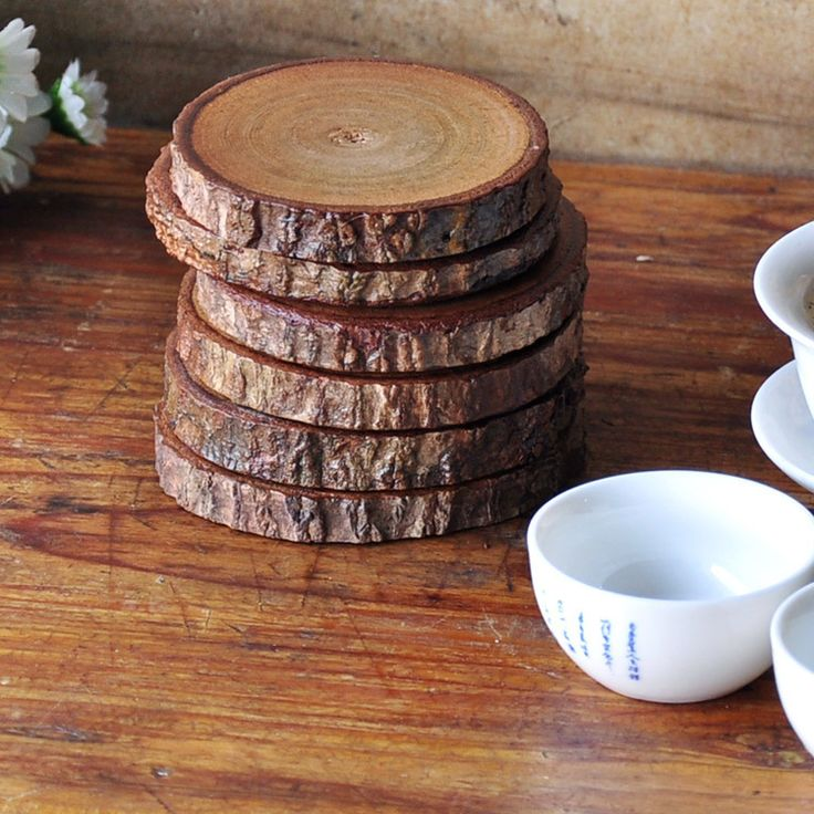 Primitive Round Wood Wooden Cup Mat Coasters Kungfu Tea Cup Bowls Pad Coffee…