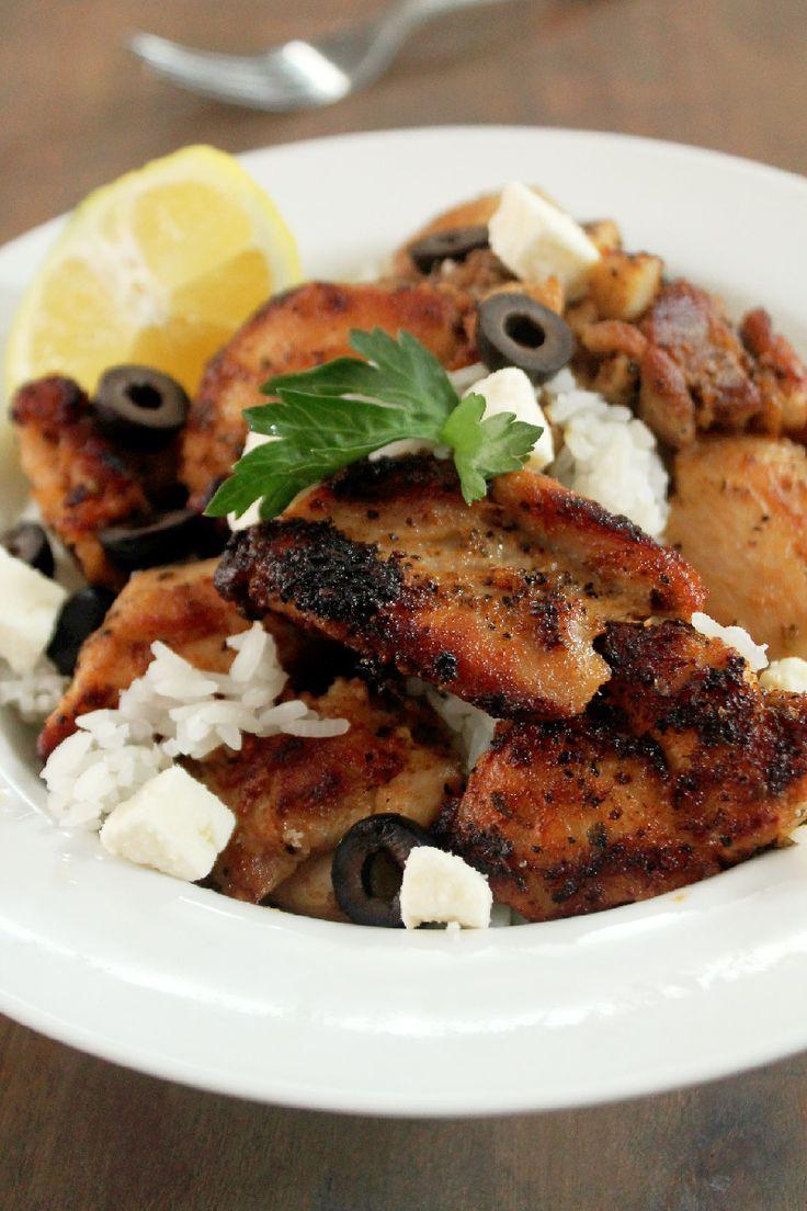 Greek Chicken Bowl- boneless, skinless, chicken thighs marinated in ...