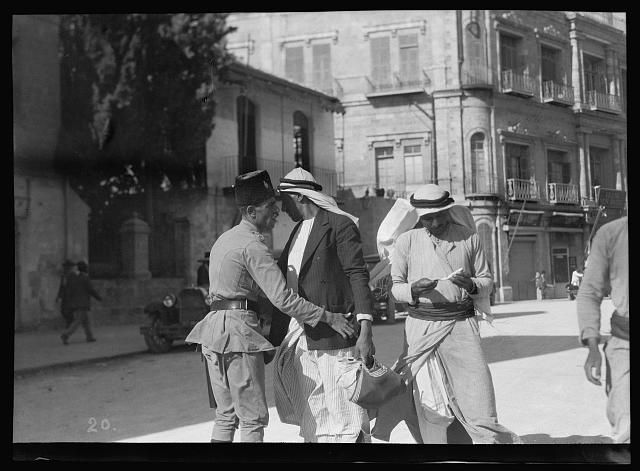 Palestine events. The 1929 riots, August 23 to 31. Inhabitants searched for arms at city gates. Arabs searched at Jaffa Gate by Palestine Police