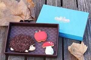 Pack pequeño de 10x15 cm galletas de vainilla y mantequilla, decoradas con glasa artesana. El pack contiene tres galletas de temática de otoño un erizo muy divertido de 8 cm aprox. decorado con virutas de chocolate como si fueran las puas, una seta y una manzana de unos 4 cm aprox. Diseño de Galletea. http://www.galletea.com/galletas-decoradas/otono/init/d/281/