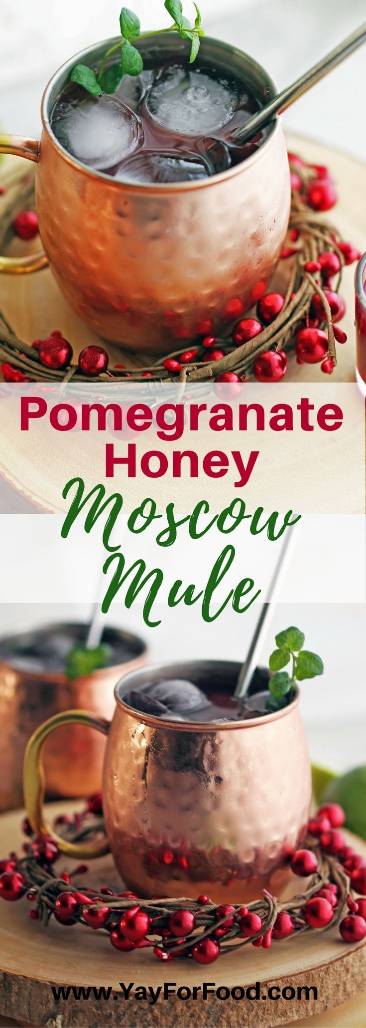 Pomegranate Honey Moscow Mules are a lovely seasonal twist on the classic Moscow Mule. It's a festive and refreshing drink that's perfect to sip on during the holidays! #drinks | #beverages | #alcoholicdrinks | #moscowmule | #holidayrecipes | #partyfood | #partydrinks | #cocktails | #easyrecipes | #pomegranate