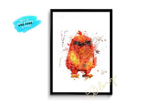 Angry Birds Poster Angry Birds Watercolor Printable Nursery