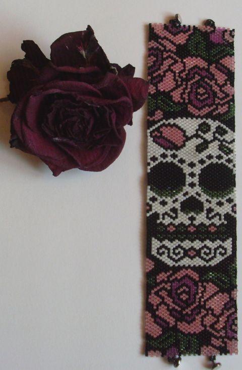 Peyote Armband Skull and Roses