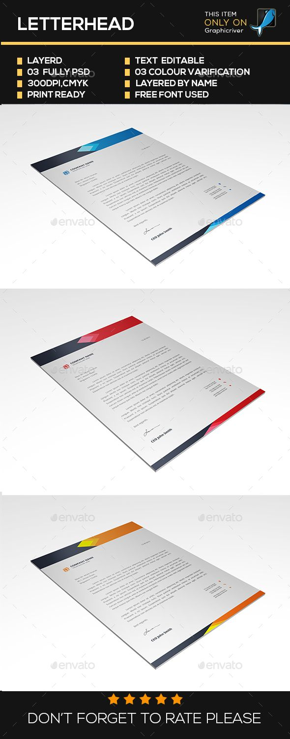 #Letterhead - #Resumes #Stationery Download here: https://graphicriver.net/item/letterhead/16832633?ref=alena994