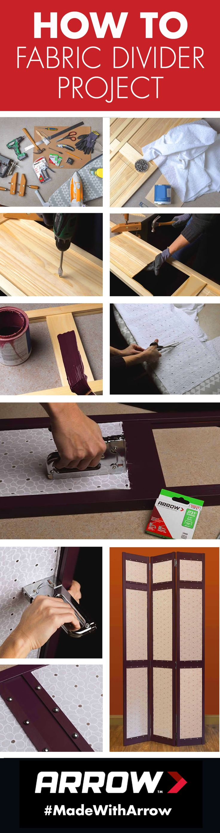 Create a gorgeous fabric divider for your home using Arrow's JT21CM staple gun! This easy DIY project adds extra style and privacy to any room, and it can easily be tackled in an afternoon. Click to read the full tutorial! www.arrowfastener.com