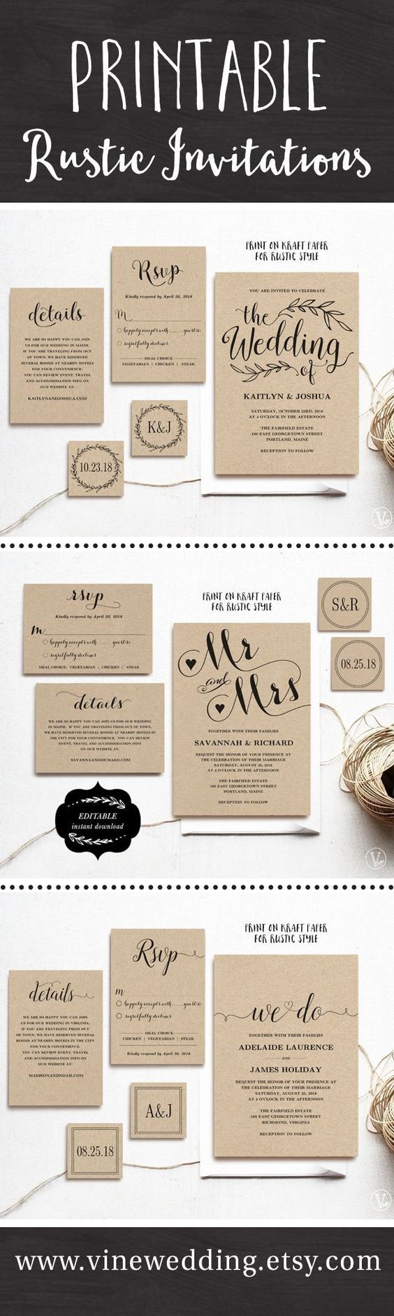 irish wedding invitations templates%0A Beautiful rustic wedding invitations  Editable instant download templates  you can print as many as you