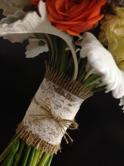 Bridal Bouquet handle wrapped with Burlap and Lace and a bow of twine
