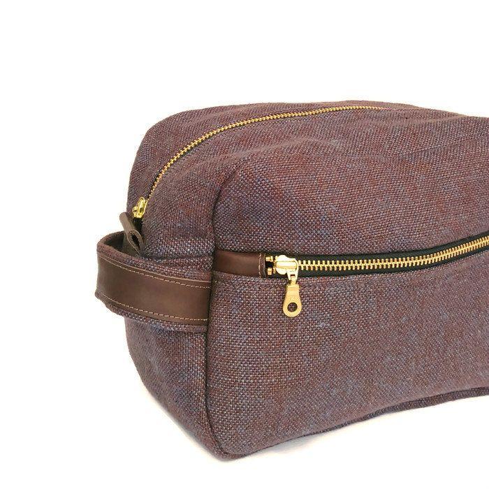 Linen Mens Toiletry Case, Chocolate Linen Mens Dopp Kit, Groomsmen Gift, Wedding Gift, Mens Linen Travel Kit Bag by OneBusySloth on Etsy