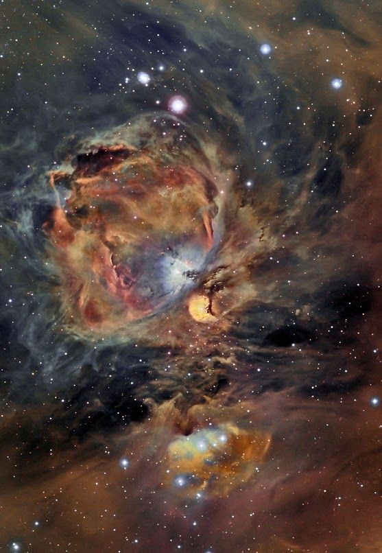 #Orion | this image shows in detail the intricacies of the nebula nearest the sun. It is a #diffusenebula situated south of the Belt of the #ConstellationOrion. It is one of the brightest nebulae and can be observed with the naked eye in the night sky. It is located about 1,500 light years from #Earth and has a diameter of about 24 light years. #M43, also called (#NebulaNGC #DeMairan and #1982) is an H II region.
