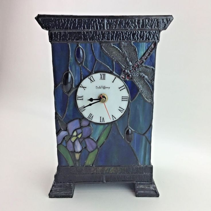 Vintage Dale Tiffany Stained Glass Mantle Clock Lamp Blue Purple Iris Dragonfly Mantle Clock