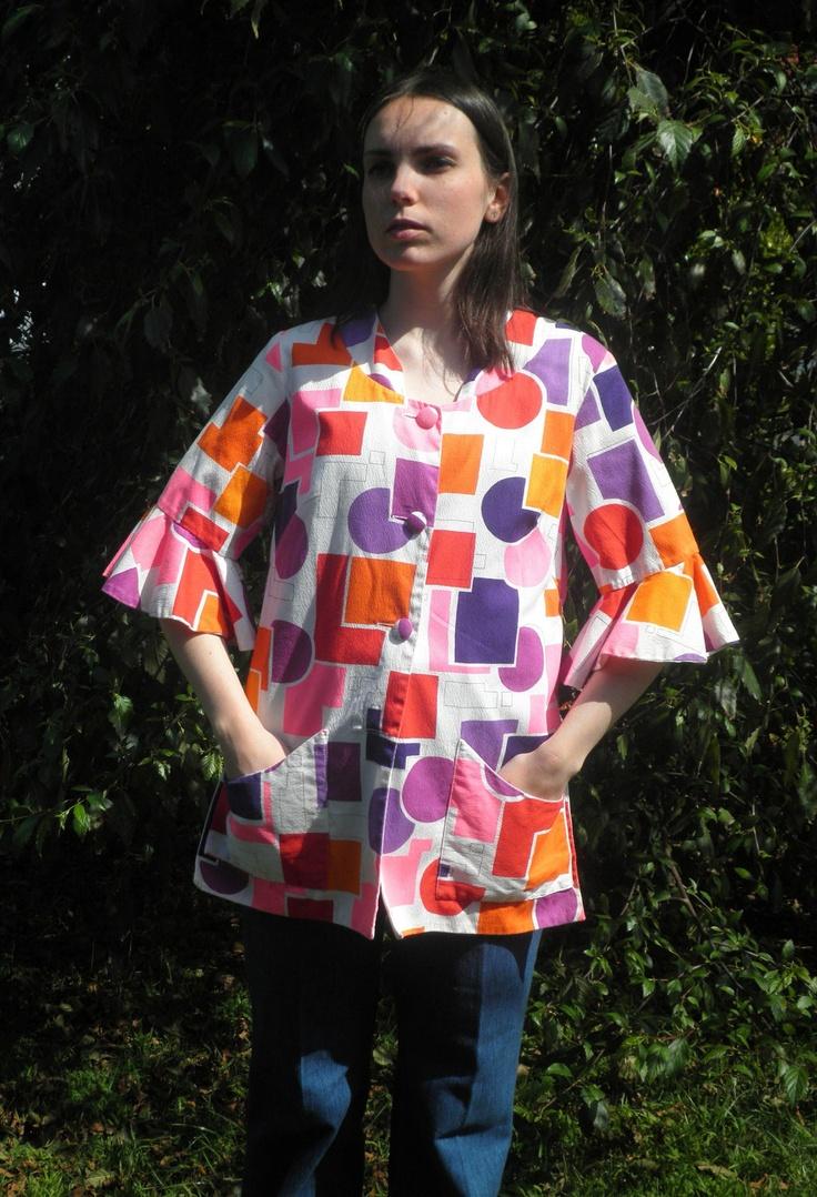 60s Geometric Tunic Jacket Size M-L. $39.00, via Etsy.