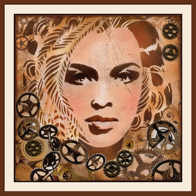 anjas-artefaktotum: Steampunk lady with Stencil by Andrea Matus DeMeng