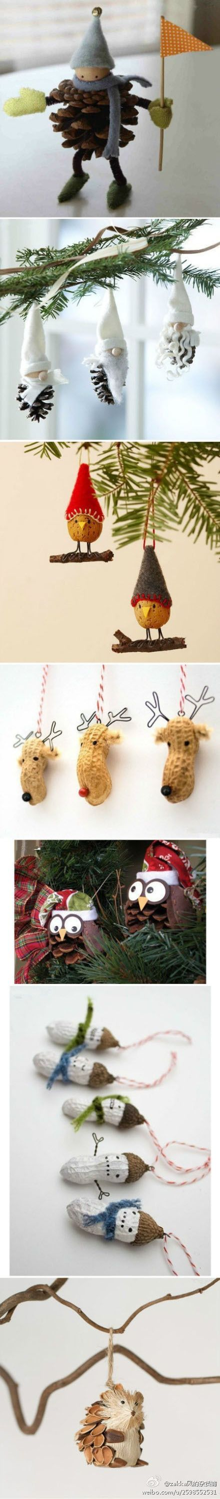 Pine cone decorations for Christmas #DIY #owls #gnomes