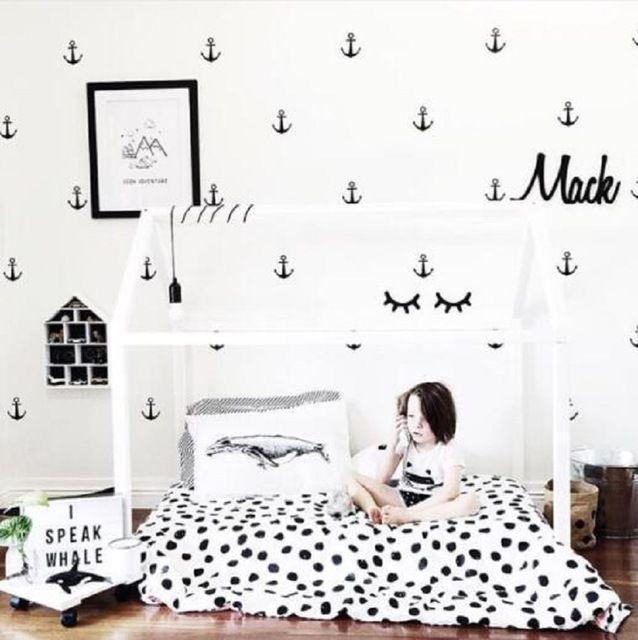 Anker patroon muursticker voor Kid's slaapkamer achtergrond versieren ECO baby muur decor jongen kamer muurtattoo