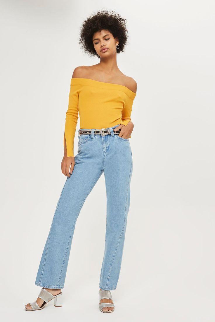 Bardot Split Sleeve Knitted Top