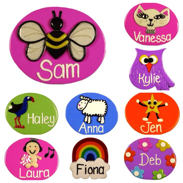 Name Badges Customise your own badge to suit your personality.  You choose the design from my range of 150+ and the background colour and I'll add your name.  Brighten up your day with a great name badge for yourself or get a gift for a friend.