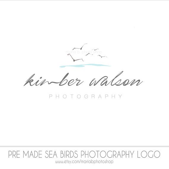 $55 Pre made Sea Birds Watercolor Photography Logo, infant photography, children, seagulls, beach theme, water, family, senior, airy