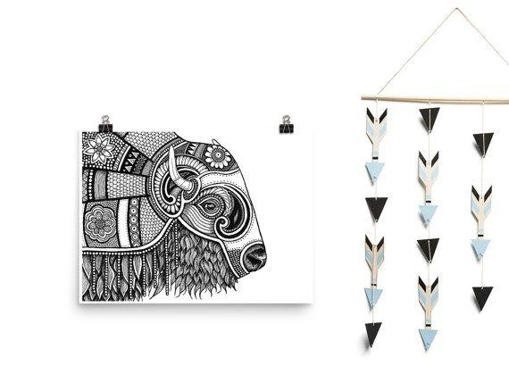 Tribal Buffalo - Printable Artwork, Downloadable Art, Boho, Black & White, Buffalo Illustration, Kids Wall Art, Nursery Art, African