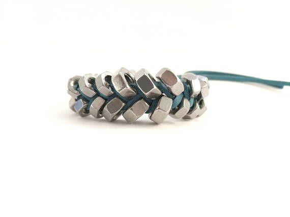 Contemporary bracelet Statement cuff Boho chic jewelry Fishbone bracelet Elegant women jewelry Metal bracelet Jewelry gift idea HEXNUTSMADE