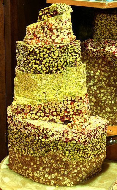 Colorful pistachio Turkish Delight at the Spice Market, Istanbul, Turkey, via Flickr.