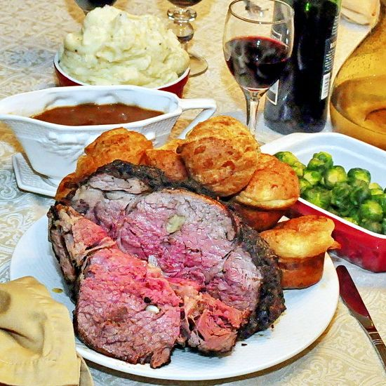 Smoky Spice Garlic Prime Rib With Side Dishes Recipe
