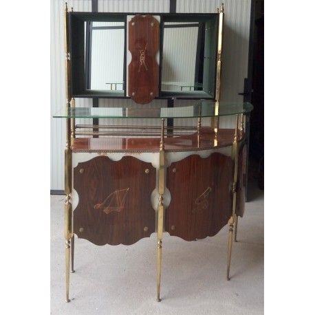 Mobile bar composto da scaffale e bancone, con decorazioni dipinte a mano, realizzato negli anni '50.