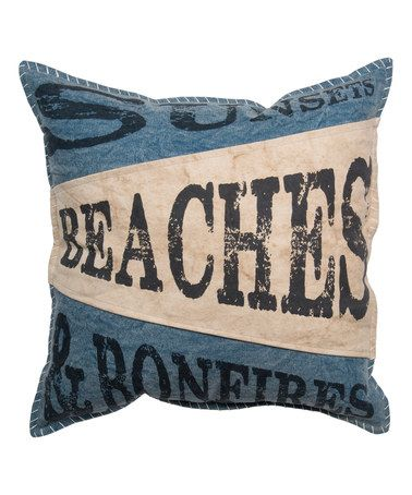 This 'Beaches and Bonfires' Throw Pillow is perfect! #zulilyfinds