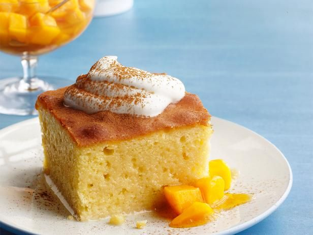 Tres Leches Cake with Mango: Top traditional tres leches cake with homemade whipped cream, pureed mango and chunks of fresh mango.