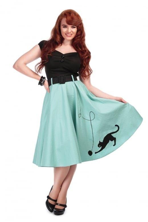 0c2bb19d9c8c Collectif Mainline Kitty Cat Swing Skirt