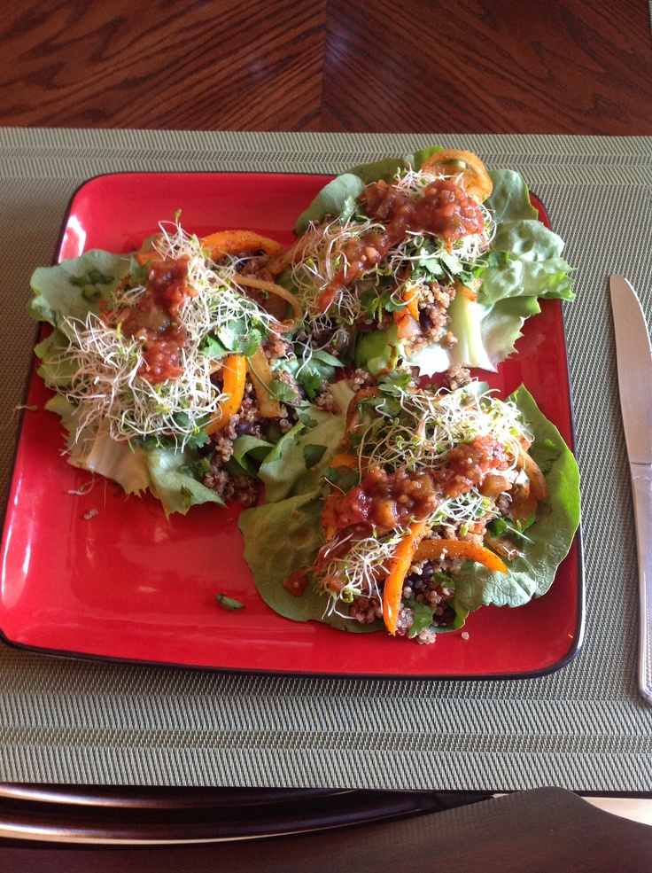 Vegan quinoa black bean lettuce wrapped fajitas...stew the black beans and diced tomatoes together in 1/3 of taco seasoning (homemade) saute onion an bell pepper with 1/3 seasoning and cook quinoa in vegetable broth and 1/3 of seasoning build with desired toppings I put alfalfa sprouts cilantro salsa lime juice salt pepper and tobasco...yummy!!!