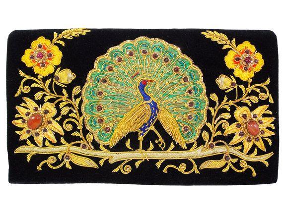Christmas Gift idea, Dancing peacock, Silk thread, golden metallic thread, Stone work, fashion accessory, Handmade