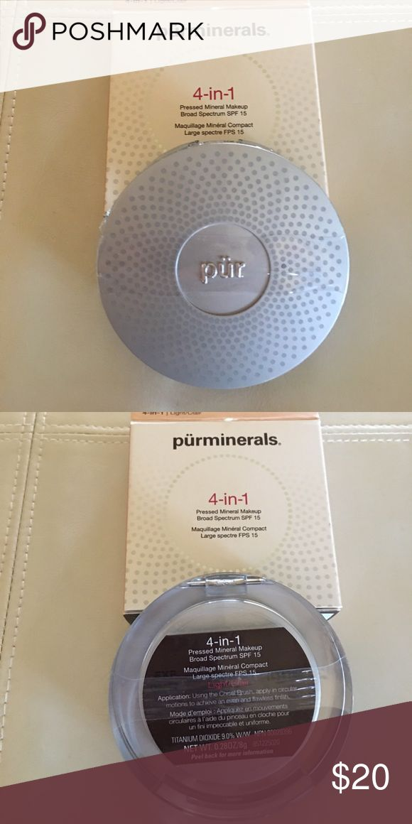 NEW Purminerals 4-in-1 mineral make-up LIGHT SPF15 New in compact with cellophane band, in box LIGHT SPF 15 pureminerals mineral make up. Pur Minerals Makeup Face Powder
