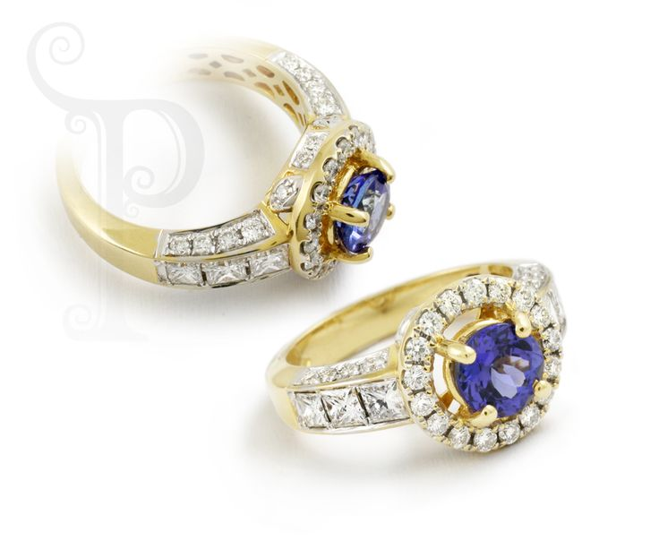 Custom Made 18ct Yellow Gold Ring, Set With Princess Cut & Round Brilliant Cut Diamonds with a Round Cut tanzanite Centre