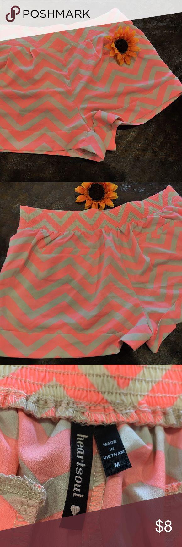 Tan/Coral Chevron shorts Super cute tan/coral Chevron shorts w/ elastic waist.  Super lightweight HeartSoul Shorts