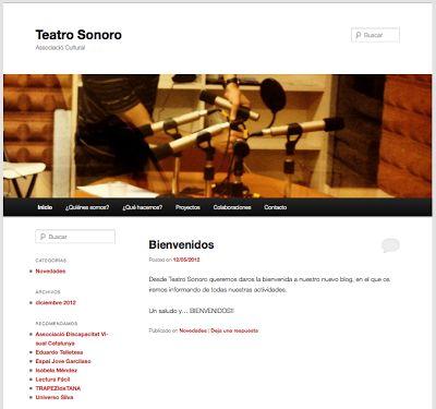 Web para la Associació Cultural Teatro Sonoro de Barcelona.