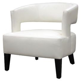 """Wood-framed club chair with a curved open back and off-white bonded leather upholstery over foam cushioning.  Product: ChairConstruction Material: Wood and bonded leatherColor: Off-whiteDimensions: 28.5"""" H x 27.5"""" W x 25"""" DNote: Assembly required"""