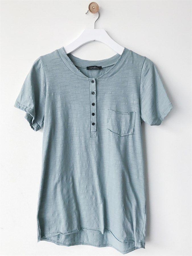 Distressed Button Boyfriend Tee | S-XL