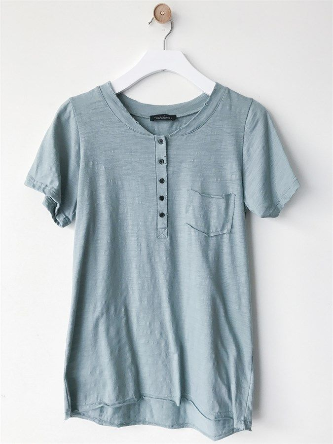Distressed Button Boyfriend Tee | S-XL | Jane