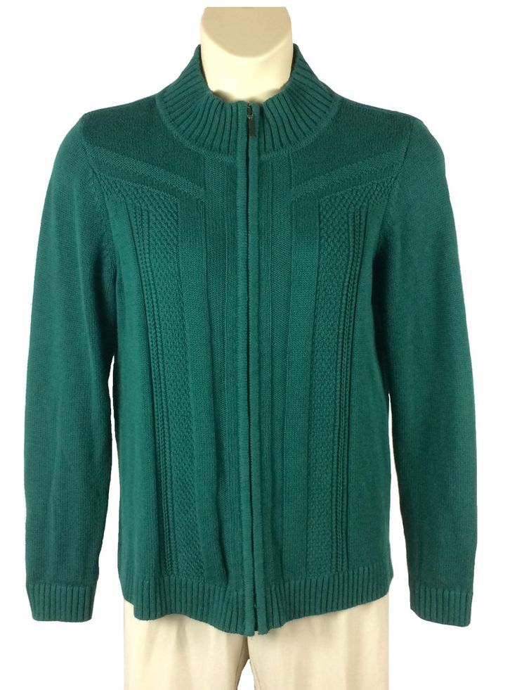 Womens Christopher Banks Green Cardigan Sweater Size L Large Long Sleeve Zip Up #ChristopherBanks #Cardigan