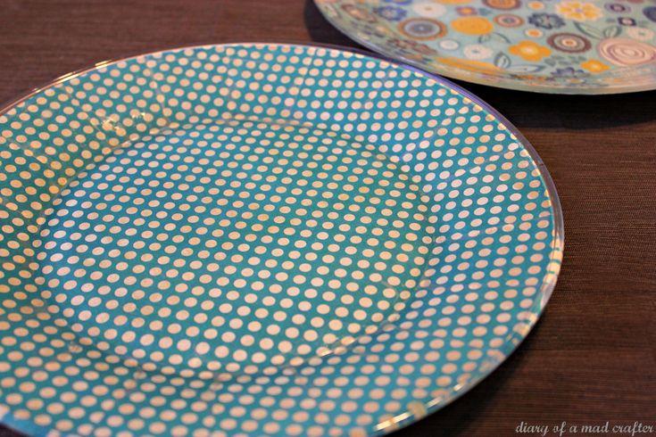 Mod podge glass plates