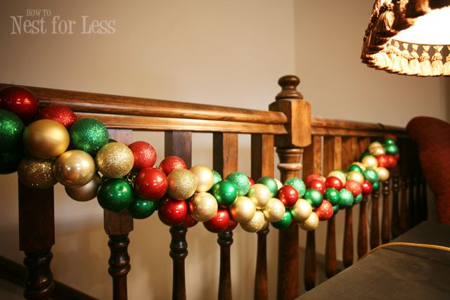 Pinterest Project: Christmas Ornament Garland - uses dollar store ornaments (12 for a buck)