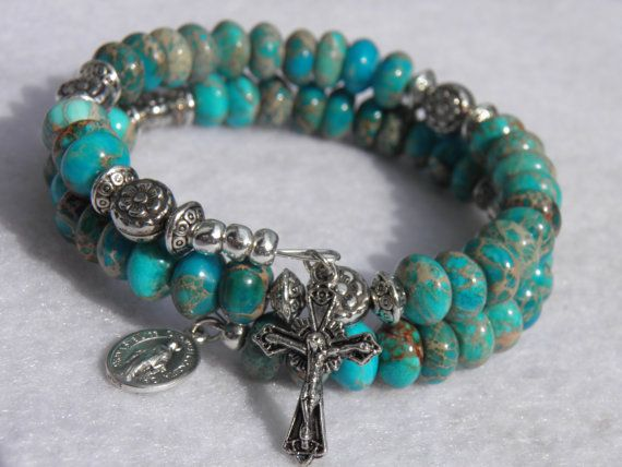 Southwestern Light Blue Turquoise Jasper Five Decade Rosary Bracelet with Silvertone Crucifix and Miraculous Medal on Etsy, $50.00